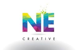 Vecteur de conception de triangles d'origami de Ne N.E. Colorful Letter Photographie stock