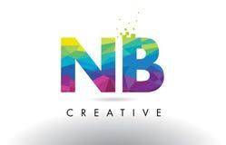 Vecteur de conception de triangles d'origami de NOTA: N.B. Colorful Letter Image stock