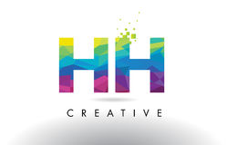 Vecteur de conception de triangles de HH H H Colorful Letter Origami illustration stock
