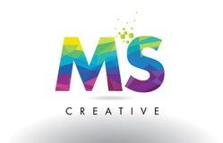 Vecteur de conception de triangles de la milliseconde M S Colorful Letter Origami illustration libre de droits
