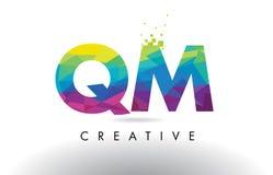 Vecteur de conception de triangles de QM Q M Colorful Letter Origami illustration stock