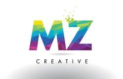 Vecteur de conception de triangles du MZ M Z Colorful Letter Origami illustration stock