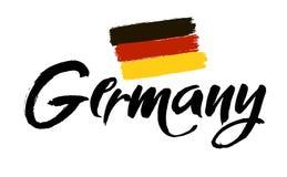 Vecteur de conception de lettrage d'art du nom du pays pour l'Allemagne Calligraphie moderne de brosse D'isolement sur le fond bl Image libre de droits