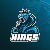 Vecteur de conception de logo de mascotte de cobra de roi avec le style moderne de concept d'illustration pour l'impression d'ins illustration de vecteur