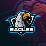 Vecteur de conception de logo de mascotte d'Eagle avec le style moderne de concept d'illustration pour l'impression d'insigne, d' illustration de vecteur