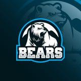 Vecteur de conception de logo de mascotte d'ours avec le style moderne de concept d'illustration pour l'impression d'insigne, d'e illustration libre de droits