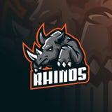 Vecteur de conception de logo de mascotte de rhinocéros avec le style moderne de concept d'illustration pour l'impression d'insig illustration stock
