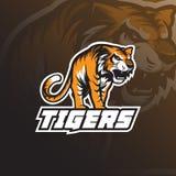 Vecteur de conception de logo de mascotte de tigre de bête avec le concept d'emblème d'insigne illustration de vecteur