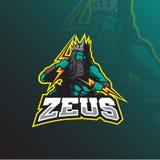 Vecteur de conception de logo de mascotte de Zeus avec le style moderne de concept d'illustration pour l'impression d'insigne, d' illustration libre de droits