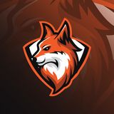 Vecteur de conception de mascotte de logo de Fox avec le style moderne et d'emblème renard illustration stock