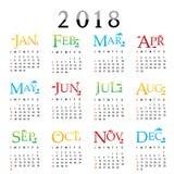 Vecteur 2018 de conception de typographie des textes de carte de voeux de bonne année de planificateur de calendrier Image libre de droits