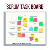 Vecteur de conseil de planification Conseil agile Tâches pour Team Development Complètement des tâches Illustration plate Photo stock