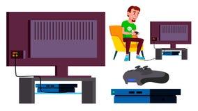 Vecteur de console de jeu vidéo Jeu de l'adolescence Plasma moderne Contrôleur de protection Penchant Illustration d'isolement de illustration stock
