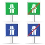 Vecteur de couleur d'autoroute de poteau de signalisation Photographie stock libre de droits