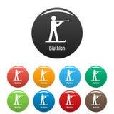 Vecteur de couleur réglé par icônes de biathlon Photos stock