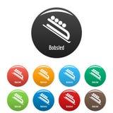 Vecteur de couleur réglé par icônes de bobsleigh Image libre de droits