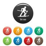 Vecteur de couleur réglé par icônes de course de ski Photos stock