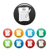 Vecteur de couleur réglé par icônes de déclaration de revenu Photographie stock