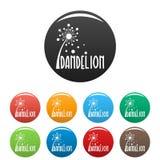 Vecteur de couleur réglé par icônes de logo de pissenlit de forêt Photos stock