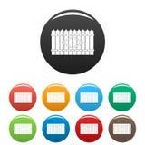 Vecteur de couleur réglé par icônes maximales en bois de barrière Image stock
