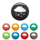 Vecteur de couleur réglé par icônes de vacances de nuage de neige illustration de vecteur