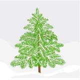 Vecteur de décoration de Noël de neige d'hiver de sapin Image libre de droits