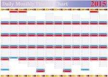 Vecteur de diagramme de rabotage de l'année mensuelle tout quotidienne 2015 Photographie stock libre de droits