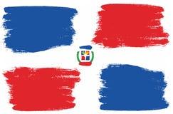 Vecteur de drapeau de la République Dominicaine peint à la main avec la brosse arrondie illustration libre de droits