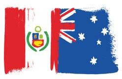 Vecteur de drapeau de Peru Flag et d'Australie peint à la main avec la brosse arrondie illustration de vecteur