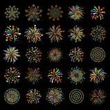 Vecteur de fête coloré de différentes formes de feu d'artifice Photos libres de droits