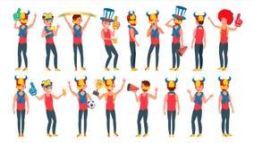 Vecteur de fan de sports Cris d'équipements Encourager au stade Différentes poses Personnage de dessin animé plat d'isolement Illustration Stock