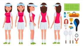 Vecteur de femelle de joueur de badminton Jeu d'été shuttlecock Illustration plate d'isolement de personnage de dessin animé illustration libre de droits