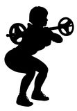 Vecteur de femme de forme physique faisant une posture accroupie de barbell Images libres de droits