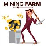 Vecteur de ferme d'exploitation Homme d'affaires Miner Devise de cryptographie Industrie moderne Base de données de serveur Bande illustration stock