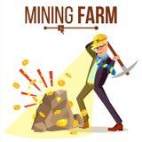 Vecteur de ferme d'exploitation Homme d'affaires Miner Pièce de monnaie de Digital Données composantes Transaction de salaire Ill illustration stock