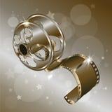 Vecteur de film de bobine de film d'isolement sur le fond d'or avec des étoiles Images libres de droits