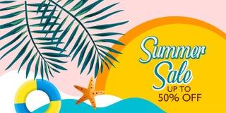 Vecteur de fond de bannière de vente d'été pour la promotion vos articles avec la palmette et la plage illustration stock