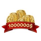 Vecteur de fond de casino de gagnant de gros lot Trésor d'or de pièces de monnaie Signe Lucky Symbol Template de gagnant illustration libre de droits