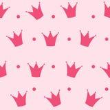 Vecteur de fond de princesse Crown Seamless Pattern Photos stock