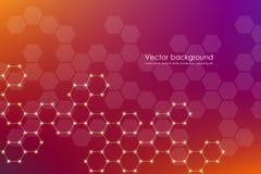 Vecteur de fond de molécule, génétique et composés chimiques, scientifique ou technologique hexagonal abstrait de concept Photo stock