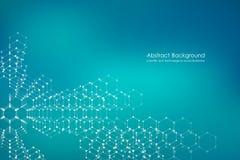 Vecteur de fond de molécule, génétique et composés chimiques, scientifique ou technologique hexagonal abstrait de concept Image libre de droits