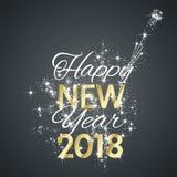 Vecteur de fond de noir de feu d'artifice de 2018 bonnes années Photographie stock libre de droits
