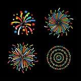 Vecteur de fête coloré de différentes formes de feu d'artifice Photographie stock