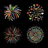 Vecteur de fête coloré de différentes formes de feu d'artifice Images libres de droits