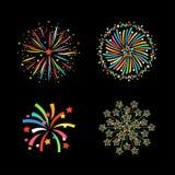 Vecteur de fête coloré de différentes formes de feu d'artifice Photo libre de droits