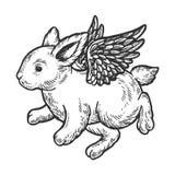 Vecteur de gravure de lapin de bébé de vol d'ange illustration stock