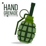 Vecteur de grenade Big Bang Bombe classique verte de grenade à main Objet d'armée Explosion de bataille Les militaires d'artiller illustration de vecteur