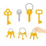Vecteur de groupe de clés, clé accrochant sur l'anneau, main tenant le keychain Photographie stock libre de droits