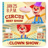 Vecteur de Horizontal Banners Template de clown de cirque Grand concept d'exposition de cirque Partie de parc d'attractions Festi illustration libre de droits