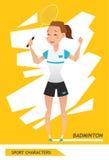 Vecteur de joueur de badminton de caractères de sport illustration stock